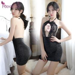 【情趣内衣】霏慕蕾丝珠光挂脖包臀睡裙7979(限价销售32)更新图片包